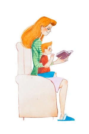 Watercolor illustration of ginger family. Young mother reading a book to her son sitting on her lap Stock Photo