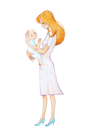 Hand-drawn watercolor illustration of pretty young mother holding newborn smiling and looking kindly at him 版權商用圖片