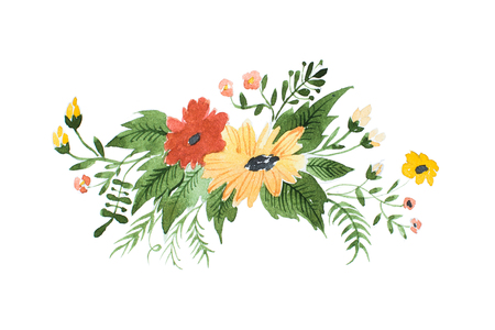 Watercolor painting of wild flowers boutonniere hand-drawn Stok Fotoğraf
