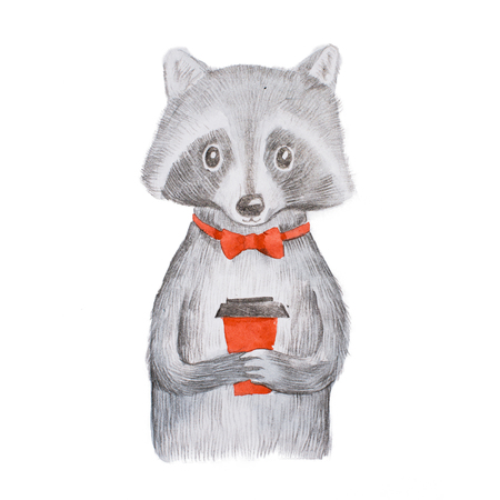 Cute grey raccoon wearing red bow tie holding a takeaway cup of coffee with both hands hand-drawn Banco de Imagens