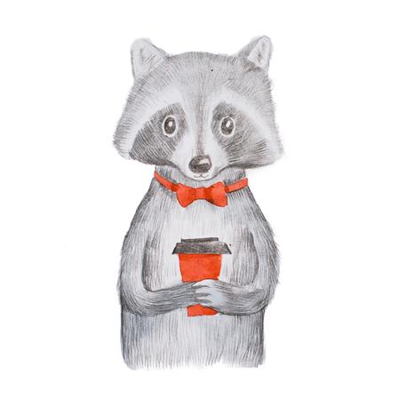 Mignon raton laveur gris portant noeud papillon rouge tenant une tasse de café à emporter avec les deux mains dessinés à la main Banque d'images - 86555477