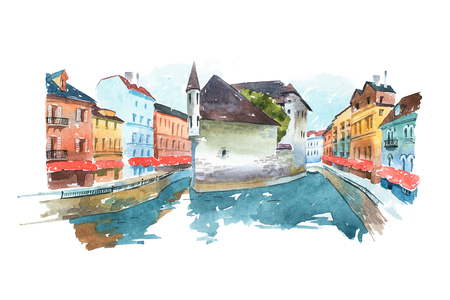 Picture of Venetian cityscape with a house in the middle  canal painted  watercolors. Painting  Venice, city in Italy, Europe. Reklamní fotografie