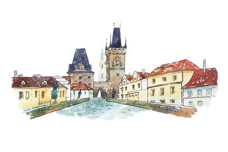 プラハ, チェコ共和国, ヨーロッパのカレル橋の水彩画。 写真素材