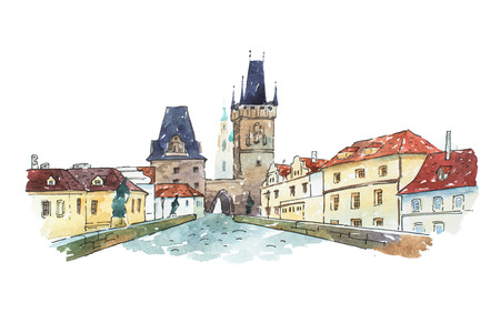 Watercolor painting of Charles bridge in Prague, Czech Republic, Europe. Banco de Imagens