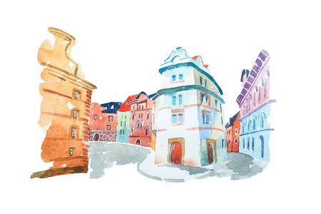 Aquarelle painting of Portuguese street with old historical buildings