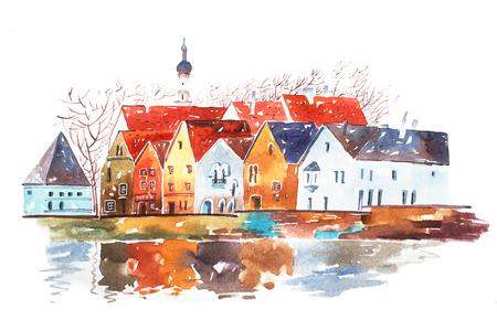 Waterverf illustratie van huizen met traditionele Europese architectonische kenmerken.