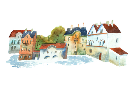 Hand-painted aquarelle picture of old buildings in European town