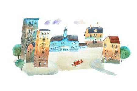 手塗り水彩スケッチの古い町の広場です。