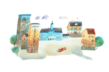 Hand painted watercolor sketch of old town square.