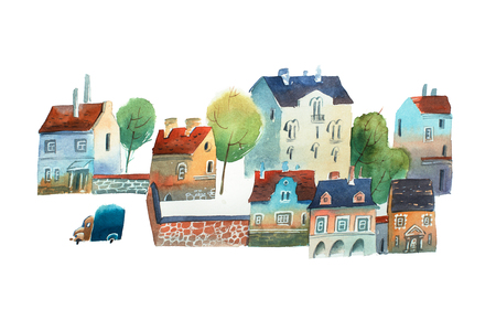 Watercolor illustration of old city center  Scandinavia in summer
