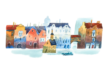 Watercolor painting of old city street in Europe with chapel in the middle and a car