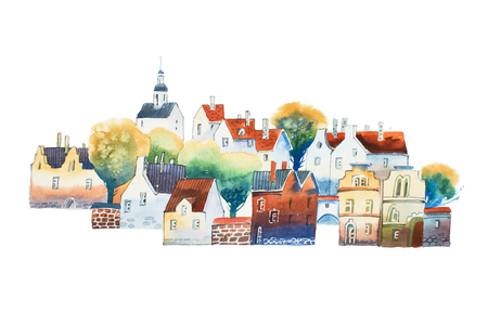 Aquarelle drawing in color of old European city center with traditional houses in summer