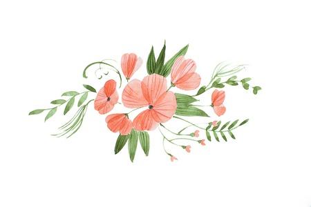 신선한 핑크 꽃과 잎으로 구성 된 아름 다운 신부 부케의 손으로 그린 수채화 스케치