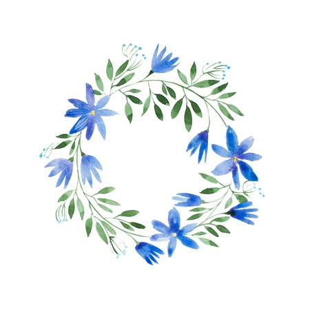 Romantic cornflower garland hand-drawn with watercolor technique. Hand-drawn rustic floral wreath Stock Photo