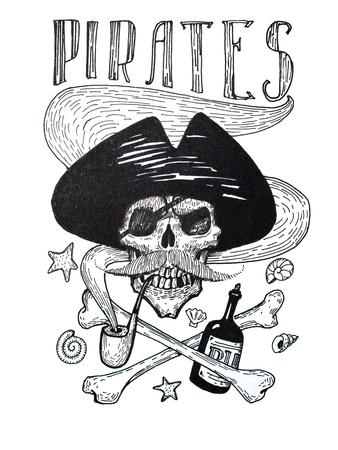 海賊の黒と白の図面属性構成: 頭蓋骨、口ひげ、アンカー、ラムと骨