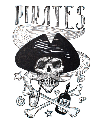 Black-and-white drawing of pirates attributes composition: skull, mustache, anchor, rum and bones