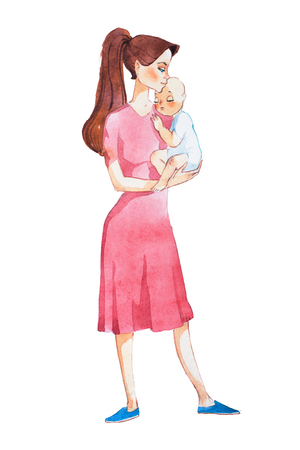 Young mother holding her sleeping newborn baby hand drawn with watercolor Banco de Imagens