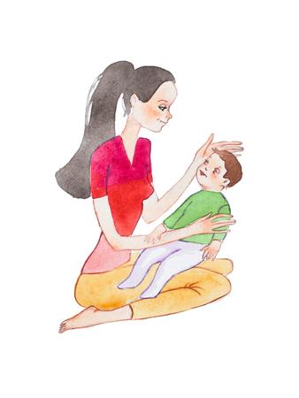 그의 머리를 쓰 다듬어 그녀의 아기 아들을 들고 바닥에 앉아 젊은 엄마의 Aquarelle 손으로 그린 그림 스톡 콘텐츠