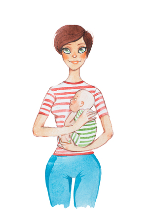 Hand-drawn watercolor cartoon portrait of young mother holding her sleeping baby