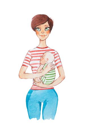 Von Hand gezeichnetes Aquarellkarikaturporträt der jungen Mutter ihr schlafendes Baby halten Standard-Bild - 88757928
