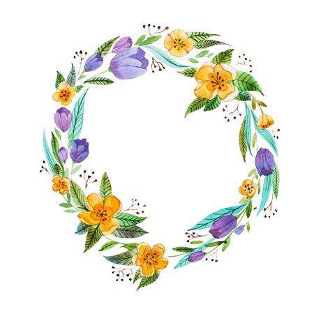 隔離された手描きの繊細な花と葉で作られた花の水彩画のコロネット