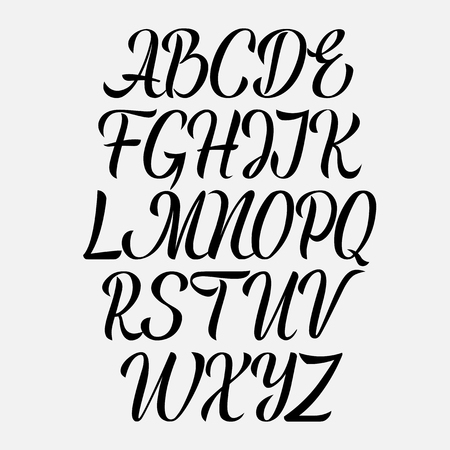 Handwritten vector aphabet. Hand drawn lettering font. Brush script calligraphy cursive type.