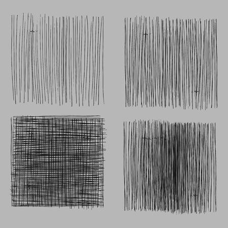 グランジ ラフ ハッチング描画テクスチャセット。ベクトルイラストレーション