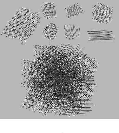 グランジ ラフ図面テクスチャを孵化を設定します。ベクトル図