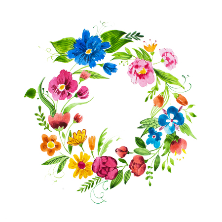 Hand drawn watercolor wreath of flowers and leaves. Isolated aquarelle decorative floral element.
