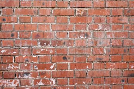 Bakstenen muur, oude textuur van rode steenblokken. Achtergrond.