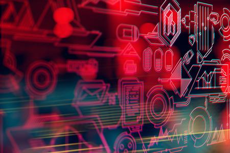 데이터 배경으로 디지털 기술 하이테크 개념 화면