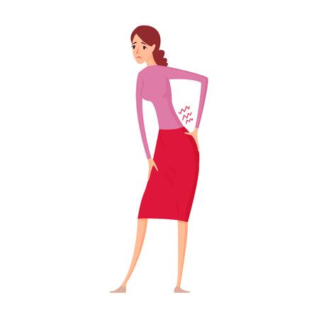 Sick women with pain in back vector illustration. Ilustracja