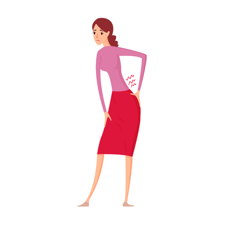Sick women with pain in back vector illustration. Illustration