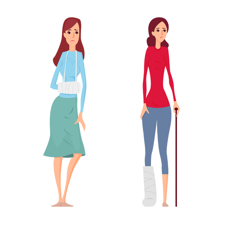 Young woman broken hand and leg vector illustration. 向量圖像