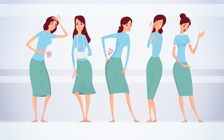 異なる種類の女性の病気ベクターイラスト。  イラスト・ベクター素材