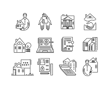 Line icons real estate sale and rent signs. Illustration