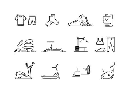 Lijn pictogrammen sport gym apparatuur. Cardio-, fitness-, yoga- en trainingsapparatuur. Stock Illustratie