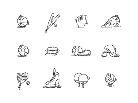 Line icons sport games equipment. Baseball, basketball, football. Illustration