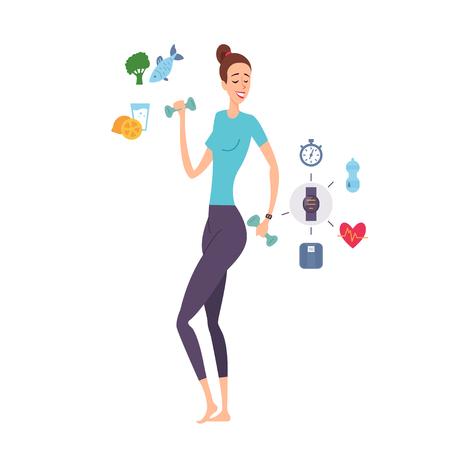 ダンベルとフィットネスガジェットで運動する若い女性の偉大な形状。健康的なライフスタイル、食事と栄養。