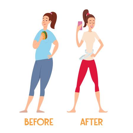 다이어트 전후의 변화. 슬림 하 고 뚱뚱한 여자. 스톡 콘텐츠 - 92938581