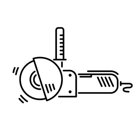 Strumenti di lavoro per la smerigliatrice angolare icona linea di costruzione e riparazione. Archivio Fotografico - 92951106
