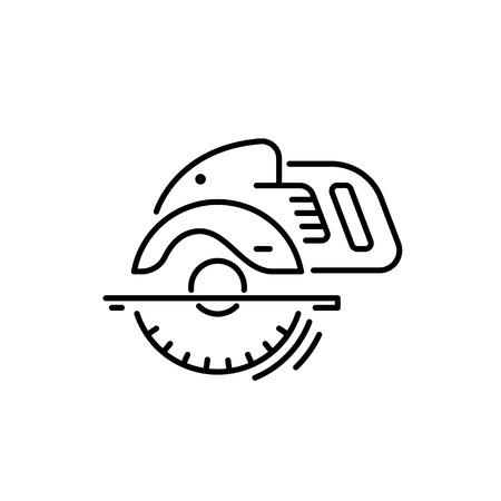 建設および修理ラインアイコンアングルグラインダーのための作業ツール。