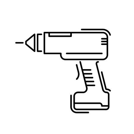 Working tools for construction and repair line icon screwdriver. Illustration