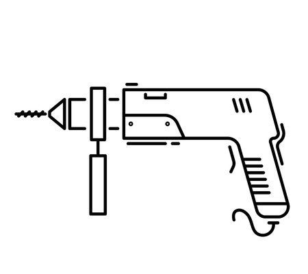 Working tools for construction and repair line icon puncher. Illustration