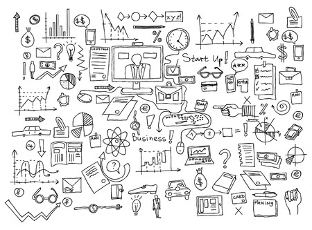 Business finance doodle icons