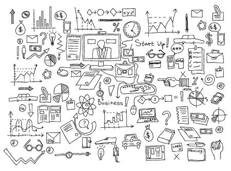Zakelijke financiën doodle pictogrammen Stockfoto - 92948059
