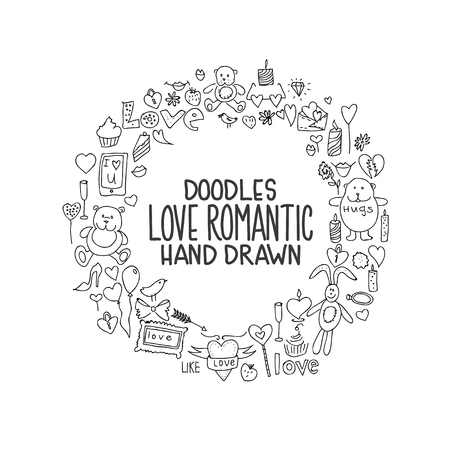 Hand drawn love doodle icons vector illustration 向量圖像