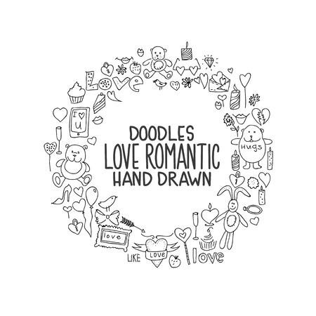 Hand drawn love doodle icons vector illustration Illustration
