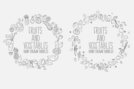 Hand drawn vegetables doodle sketch on white Illustration