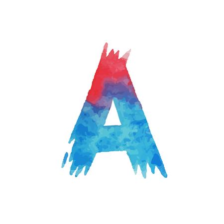カラフルな水彩画アクエリアルフォントタイプ手書き手書きは、abcアルファベットの文字を描きます。